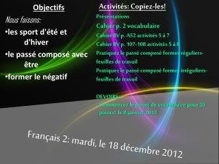 Français  2:  mardi , le 18  décembre 2012