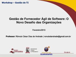 Gestão de Fornecedor Ágil de Software: O Novo Desafio das Organizações  Fevereiro/2013