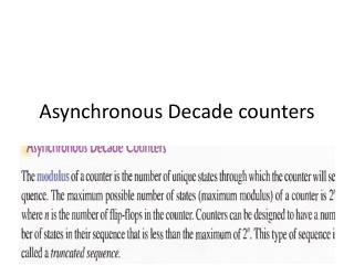 Asynchronous Decade counters