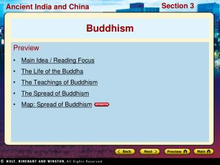 Preview Main Idea / Reading Focus The Life of the Buddha The Teachings of Buddhism