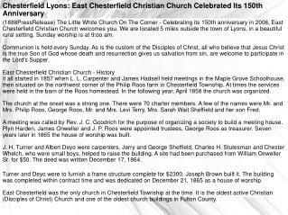 Chesterfield Lyons: East Chesterfield Christian Church Celeb