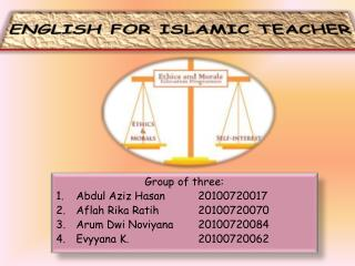 ENGLISH FOR ISLAMIC TEACHER
