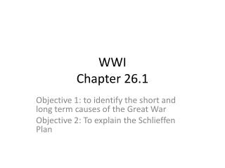 WWI  Chapter 26.1