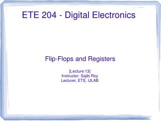 ETE  2 04  - Digital Electronics