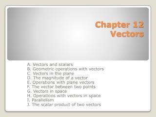 Chapter 12 Vectors