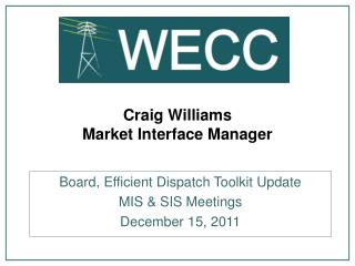 Craig Williams Market Interface Manager