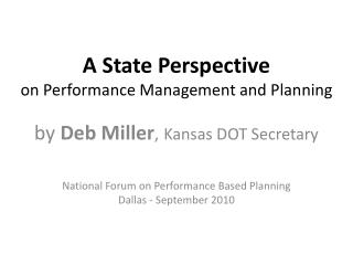 A State Perspective on Performance Management and Planning