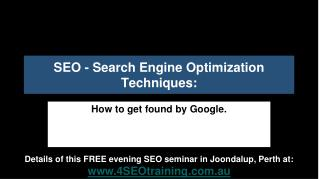 Perth SEO - Search Engine Optimization Techniques