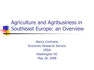 Agriculture and Agribusiness