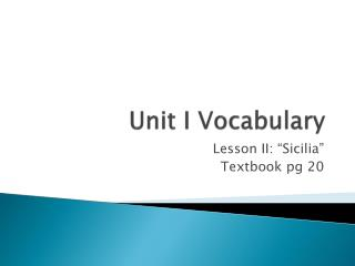 Unit I Vocabulary