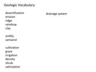Geologic Vocabulary