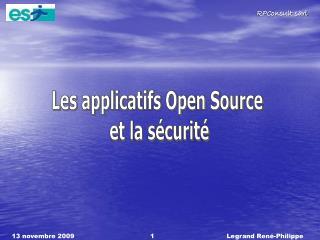 Les applicatifs Open Source  et la s�curit�