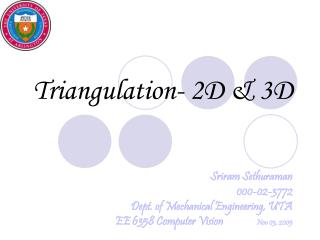 Triangulation- 2D  3D
