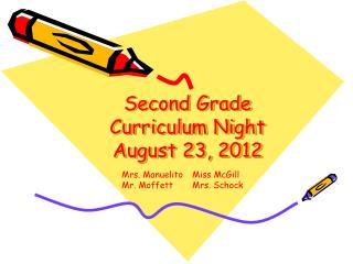 Second Grade Curriculum Night August 23, 2012