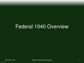 Federal 1040 Overview
