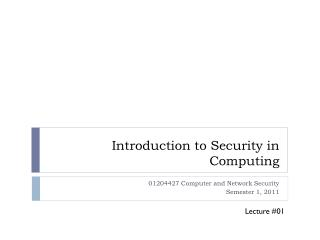 Introduction to Security in Computing