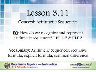 Lesson 3.11 Concept : Arithmetic Sequences