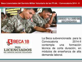 Beca Licenciados del Servicio Militar Voluntario de las FF.AA. / Convocatoria 2014 - II