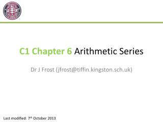 C1 Chapter 6  Arithmetic Series