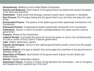 Amendments - Additions to the United States Constitution