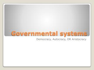 Governmental systems