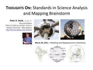 Thoughts On:  Standards in Science Analysis and Mapping Brainstorm