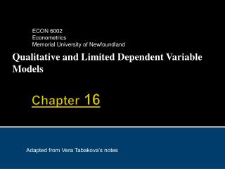 Qualitative and Limited Dependent Variable Models