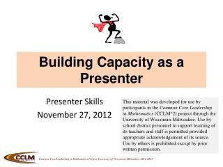 Building Capacity as a Presenter