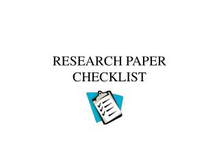 RESEARCH PAPER CHECKLIST