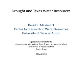 Drought and Texas Water Resources