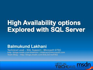 High Availability options Explored with SQL Server