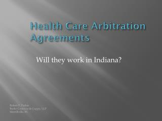 Health Care Arbitration Agreements