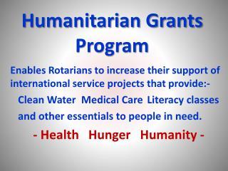 Humanitarian Grants Program