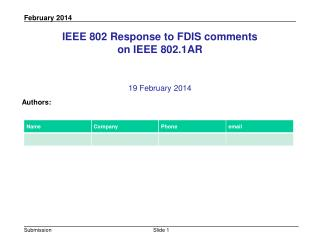 IEEE 802 Response to FDIS comments  on IEEE 802.1AR