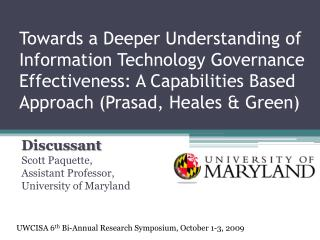 Discussant   Scott Paquette,  Assistant Professor, University of Maryland