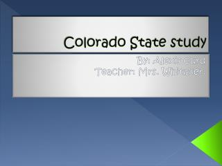 Colorado State study