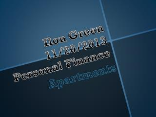 Ilon  Green 11/20/2013 Personal Finance