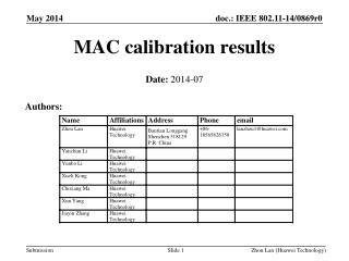 MAC calibration results