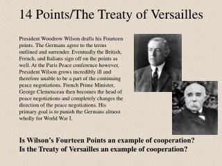 14 Points/The Treaty of Versailles