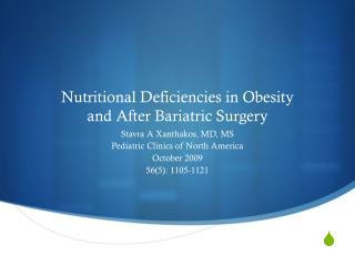Nutritional Deficiencies in Obesity  and After Bariatric Surgery