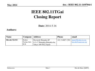 IEEE 802.11TGai Closing Report