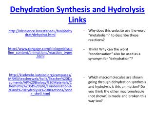 Dehydration Synthesis and Hydrolysis Links