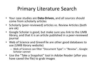 Primary Literature Search