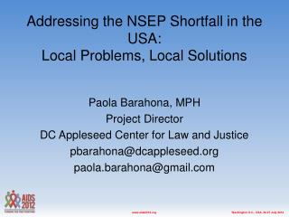 Addressing the NSEP Shortfall in the USA:  Local Problems, Local Solutions