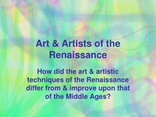 Art & Artists of the Renaissance