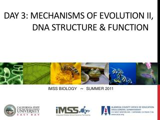 DAY  3:  Mechanisms of  evolution II, 	      DNA Structure & function