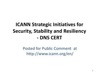 ICANN Strategic Initiatives for  Security, Stability and Resiliency - DNS CERT