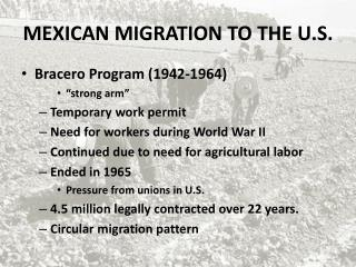 MEXICAN MIGRATION TO THE U.S.