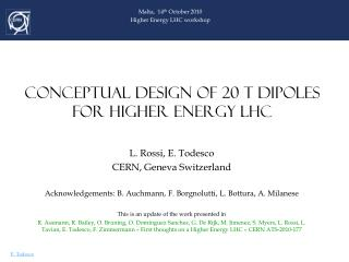 CONCEPTUAL DESIGN OF 20 T DIPOLES  FOR  HIGHER  ENERGY LHC
