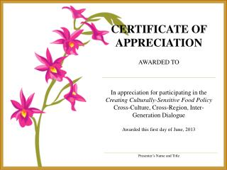 certificate of appreciation awarded to In  appreciation for participating in the